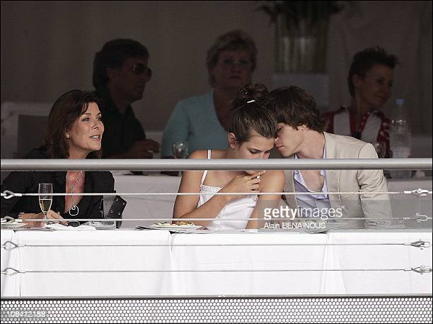 Princess Caroline of Hanover with daughter Charlotte Casiraghi and her boyfriend Felix Winckler in Monaco on June 24 2006