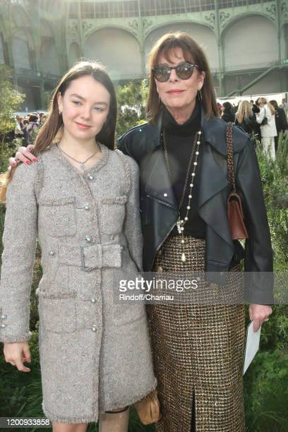 Princess Caroline of Hanover with her daughter Princess Alexandra of Hanover attend the Chanel Haute Couture Spring/Summer 2020 show as part of Paris...