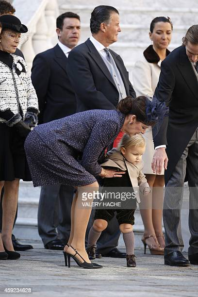 Princess Caroline of Hanover with her grandson Sacha Casiraghi attends in Monaco Palace the celebrations marking Monaco's National Day on November 19...