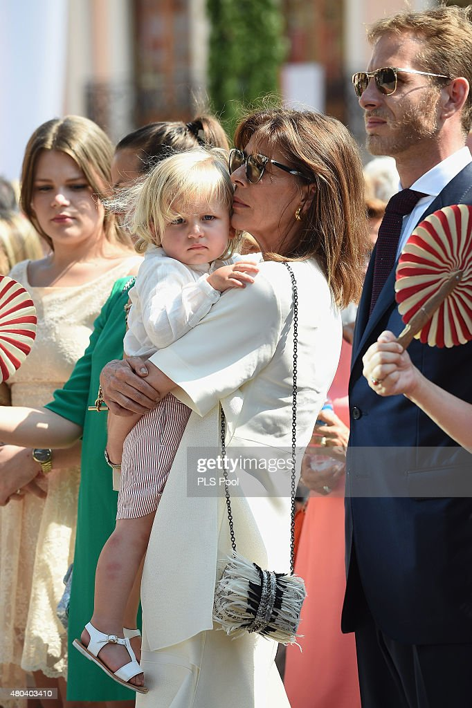 Princess Caroline of Hanover with her grandson Sasha Casiraghi and Andrea Casiraghi attend the First Day of the 10th Anniversary on the Throne Celebrations on July 11, 2015 in Monaco, Monaco.