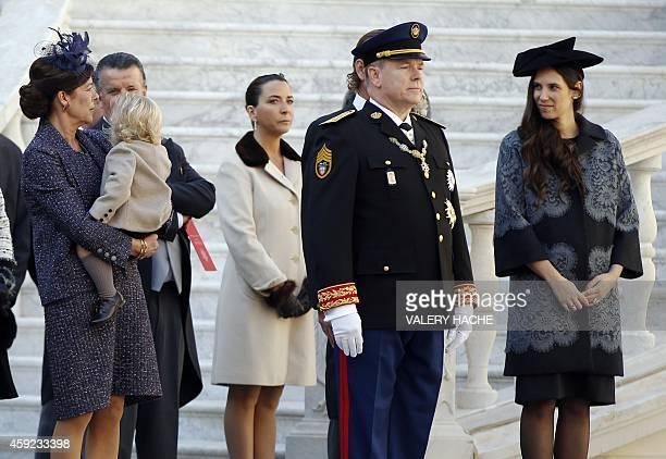 Princess Caroline of Hanover with Sacha Casiraghi Prince Albert II of Moanco and Tatiana Santo Domingo attend in Monaco Palace the celebrations...