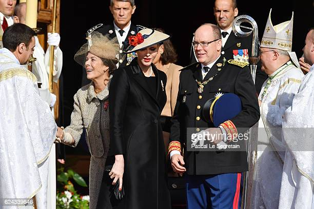 Princess Caroline of HanoverPrincess Stephanie of Monaco Princess Charlene of Monaco and Prince Albert II of Monaco leave the Cathedral of Monaco...