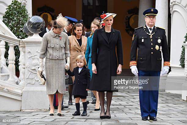 Princess Caroline of HanoverPrincess Stephanie of MonacoSacha CasiraghiPrincess Charlene of Monaco and Prince Albert II of Monaco attend the Monaco...