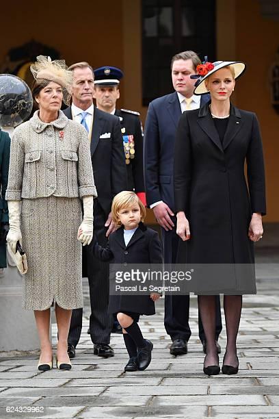 Princess Caroline of HanoverSacha Casiraghi and Princess Charlene of Monaco attend the Monaco National Day Celebrations in the Monaco Palace...