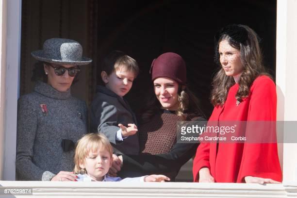 Princess Caroline of HanoverSacha Casiraghi Raphael Casiraghi Charlotte Casiraghi and Tatiana Casiraghi greet the crowd from the palace's balcony...
