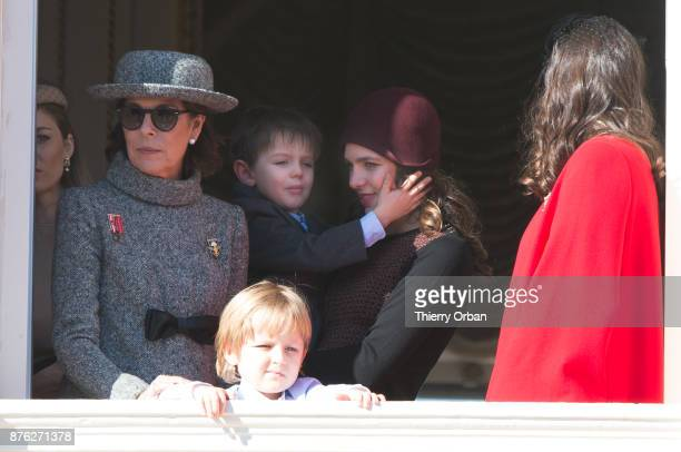 Princess Caroline of HanoverSacha Casiraghi Raphael Casiraghi Charlotte Casiraghi and Tatiana Casiraghi greet the crowd from the palace's balcony...