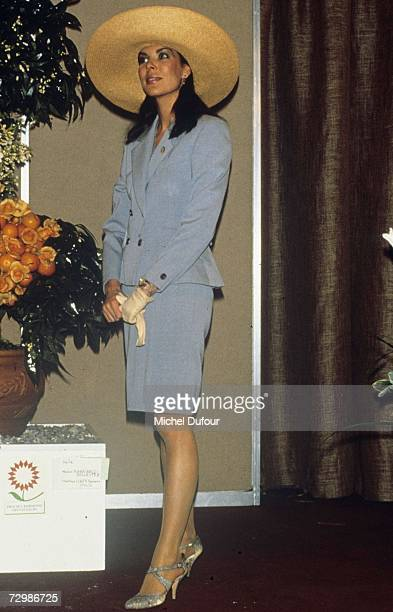 Princess Caroline of Monaco a member of the Grimaldi family attends an event in 1989 in Monaco Princess Caroline married Ernst August V Prince of...