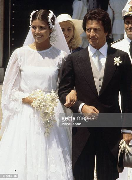 Princess Caroline of Monaco a member of the Grimaldi family marries her first husband Philippe Junor in 1978 in Monaco Princess Caroline married...