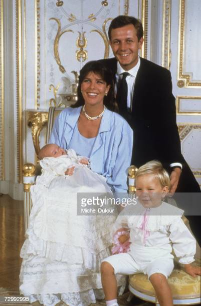 Princess Caroline of Monaco a member of the Grimaldi family poses with her second husband Stefano Casiraghi and their children in 1986 in Paris...