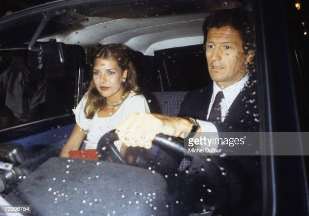 Princess Caroline of Monaco, a member of the Grimaldi family, rides in a car with her first husband, Philippe Junot, 1977 in Paris, France. Princess...