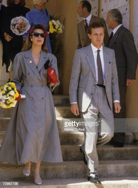 Princess Caroline of Monaco a member of the Grimaldi family walks down some steps with her second husband Stefano Casiraghi in 1985 in Monaco...