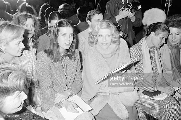Princess Caroline of Monaco and Baroness MarieHelene de Rothschild attend an Emanuel Ungaro fashion show in Paris Ungaro is showing his 1979...