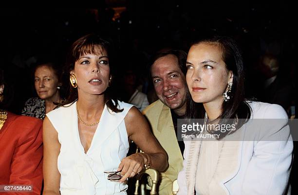 Princess Caroline of Monaco and French actress Carole Bouquet attend the Chanel 19901991 AutumnWinter fashion show in Paris Chanel is showing the...