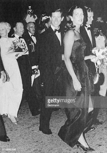 Princess Caroline of Monaco and her husband Stefano Casiraghi followed by Prince Charles of Britain arrive at the Opera at Monaco to attend a recital...