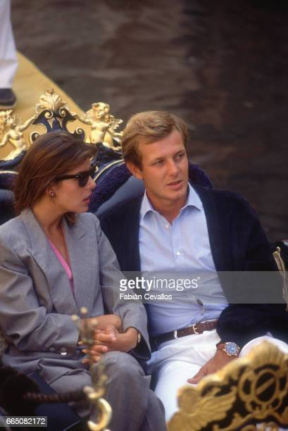 Princess Caroline of Monaco and her husband Stefano Casiraghi enjoy a gondola ride in Venice. They are among the celebrities attending the 42nd...