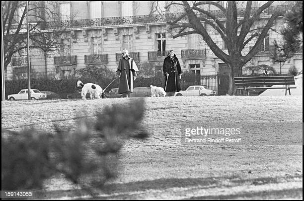 Princess Caroline of Monaco and her mother Princess Grace of Monaco walk their dogs on the avenue Foch in Paris