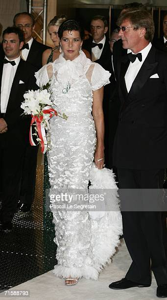 Princess Caroline of Monaco and husband Prince Ernst August of Hanover arrive at the Monaco Red Cross Ball under the Presidency of HSH Prince Albert...