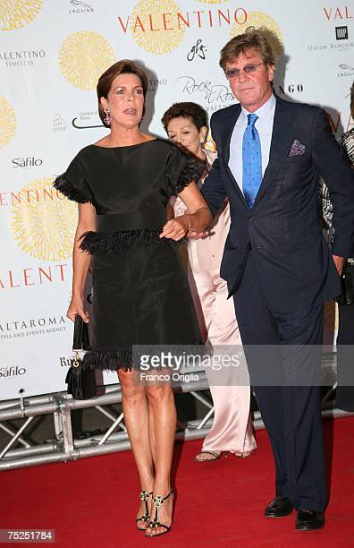 Princess Caroline of Monaco and Prince Ernst of Hannover arrive at the Ara Pacis for Valentino's Exhibition opening on July 6 2007 in Rome Italy...