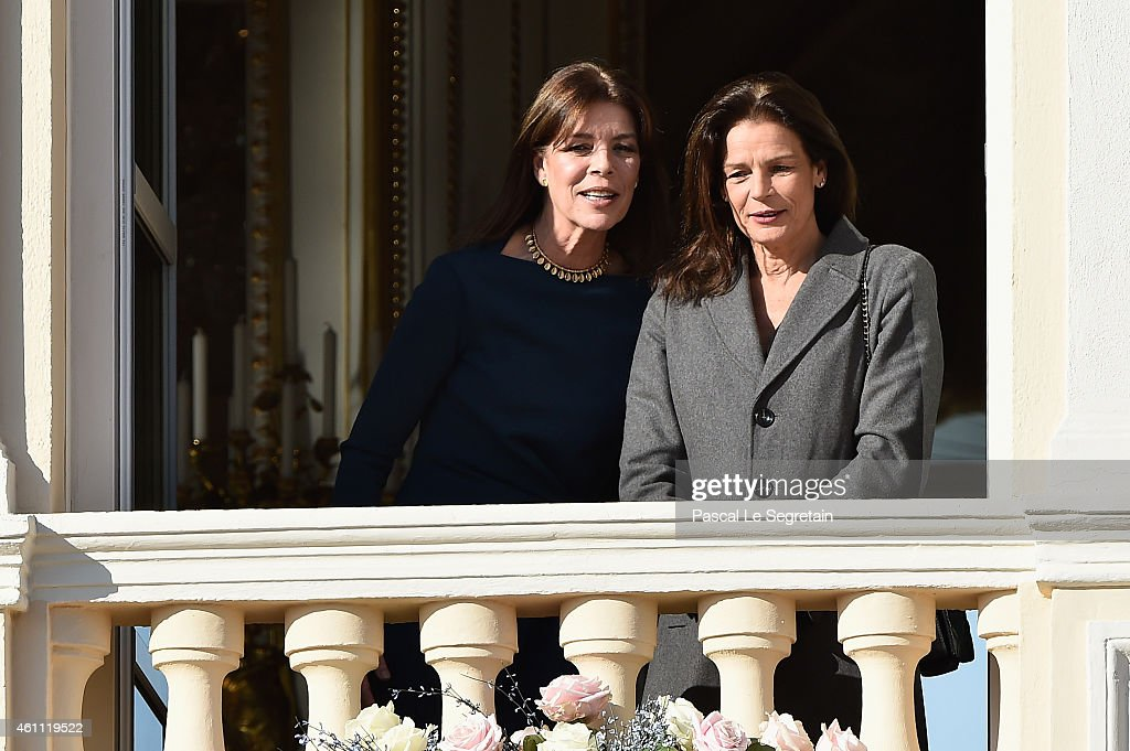 Princess Caroline of Monaco and Princess Stephanie of Monaco attend the official presentation of the Monaco Twins on January 7, 2015 in Monaco, Monaco.