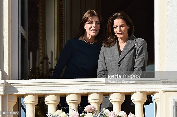Princess Caroline of Monaco and Princess Stephanie of Monaco attend the official presentation of the Monaco Twins on January 7 2015 in Monaco Monaco