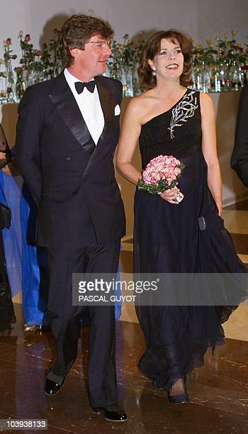 Princess Caroline of Monaco arrives with her husband Prince Ernst August of Hanover arrive at the annual charity Rose Ball i Monte Carlo 20 March