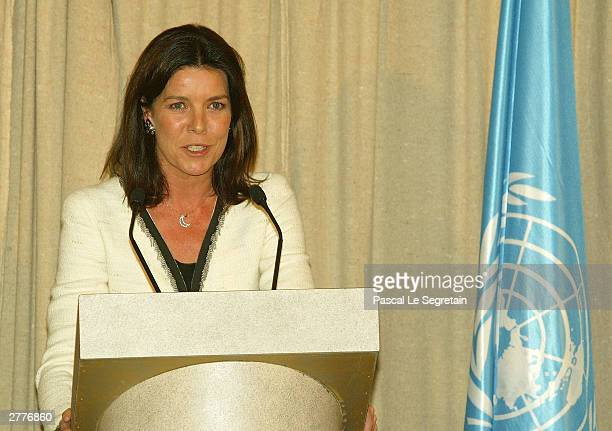 Princess Caroline of Monaco gives a speech after she was appointed Good Will Ambassador for the UNESCO December 2, 2003 in Paris, France.