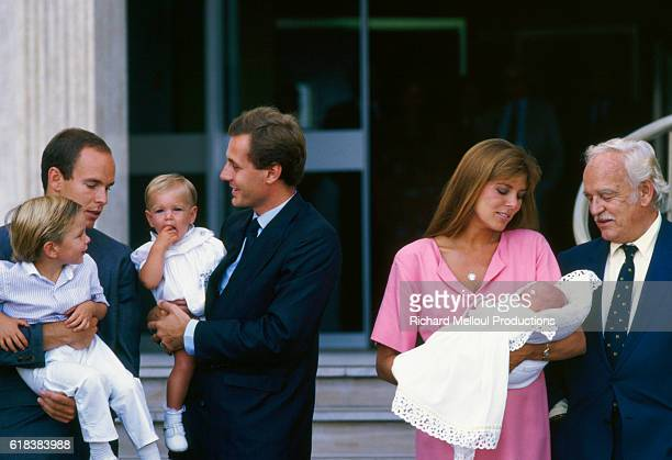 Princess Caroline of Monaco holds her newborn baby Pierre as she leaves the clinic where he was born two days before on September 5 1987 With her are...