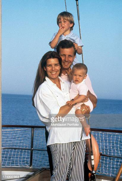 Princess Caroline of Monaco in a boat together with her husband Stefano Casiraghi, and their two children Andrea and Charlotte. .