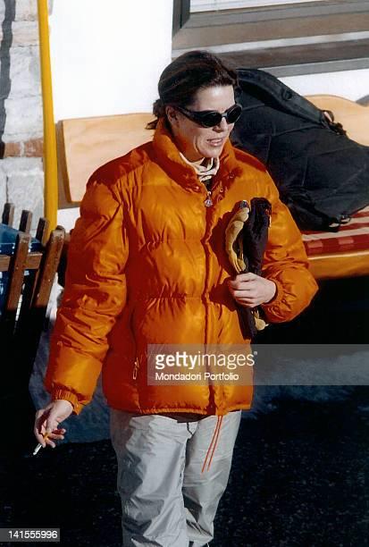 Princess Caroline of Monaco in skiwear smoking a cigarette 1980s