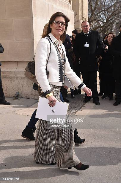 Princess Caroline of Monaco leave Chanel Fashion show during Paris Fashion Week Womenswear Fall Winter 2016/2017 on March 8 2016 in Paris France