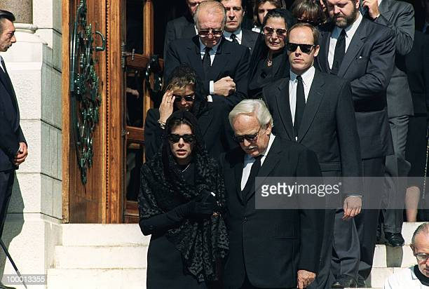 Princess Caroline of Monaco Prince Rainier III Prince Albert Princess Stephanie and Stefano Casiraghi's parents leave 06 October 1990 the Monaco...