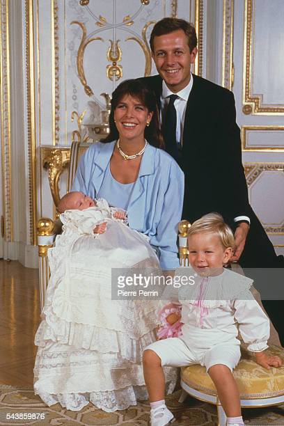 Princess Caroline of Monaco Stefano Casiraghi and their son Andrea attend the baptism of baby daughter Charlotte Casriraghi