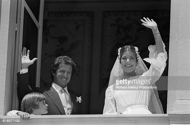 Princess Caroline of Monaco waves from a balcony after wedding French banker Philippe Junot Their marriage is to last only two years before they...