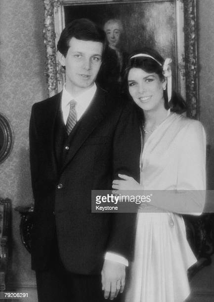 Princess Caroline of Monaco with her fiance, Italian businessman Stefano Casiraghi , December 1983. The couple were married on December 29th.