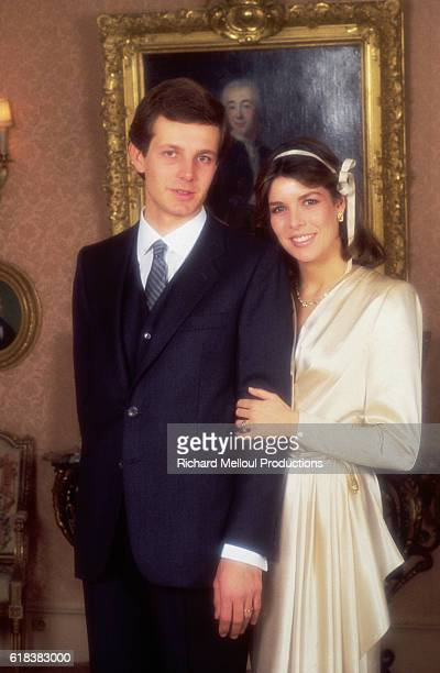 Princess Caroline of Monaco with her new husband Stefano Casiraghi at the Royal couple's wedding.