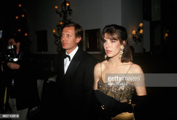 Princess Caroline Of Monaco With Husband Stefano Casiraghi In Saint Moritz, March 31, 1990.