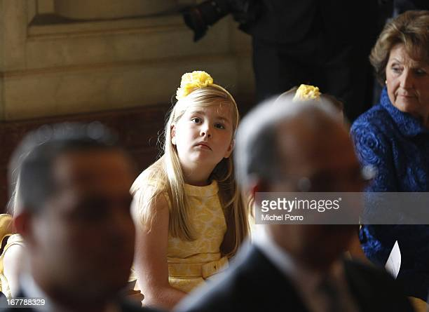 Princess Catharina Amalia of the Netherlands looks on during the ceremony for the Act of Abdication by Queen Beatrix of the Netherlands in the...