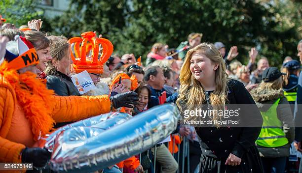 Princess CatharinaAmalia of the Netherlands attends King's Day the celebration of the birthday of the Dutch King on April 27 2016 in Zwolle...