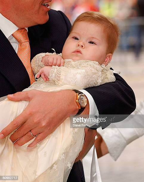 Princess CatharinaAmalia of The Netherlands daughter of Dutch Crown Prince Willem Alexander and Princess Maxima arrives for her Christening on June...