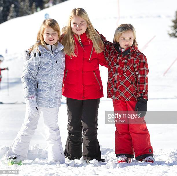 Princess Catharina-Amalia , Princess Alexia , and Princess Ariane of the Netherlands pose at the annual winter photocall on February 18, 2013 in...