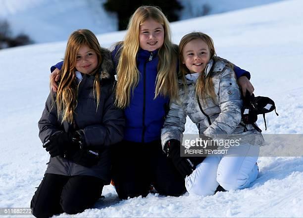 Princess CatharinaAmalia Princess Alexia Princess Ariane of The Netherlands pose at a photocall during their ski holidays in Lech am Arlberg on...
