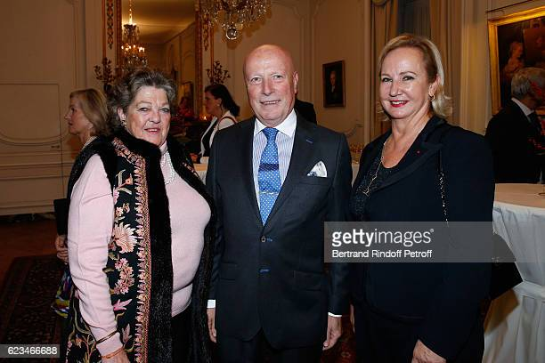 Princess Chantal de France her husband Baron Francois Xavier de Sanbucy de Sorgues and Laurence de Gaulle attend the Reception for the King of...