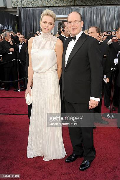 Princess Charlene and Prince Albert II of Monaco arrive at the 84th Annual Academy Awards held at the Hollywood Highland Center on February 26 2012...