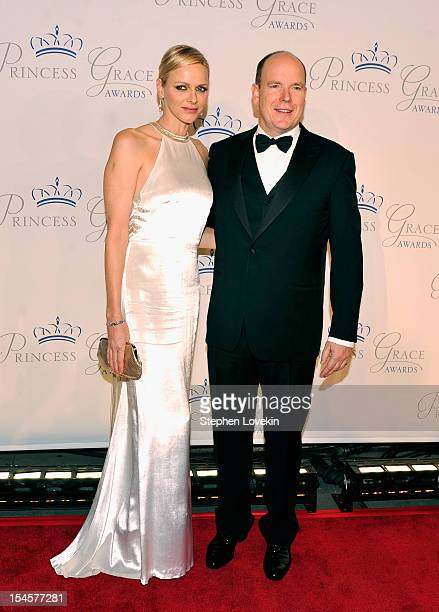 Princess Charlene and Prince Albert II of Monaco attend the 30th anniversary Princess Grace awards gala at Cipriani 42nd Street on October 22 2012 in...
