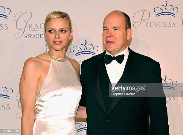 Princess Charlene and Prince Albert II of Monaco attend the 30th anniversary Princess Grace awards gala at Cipriani 42nd Street on October 22, 2012...