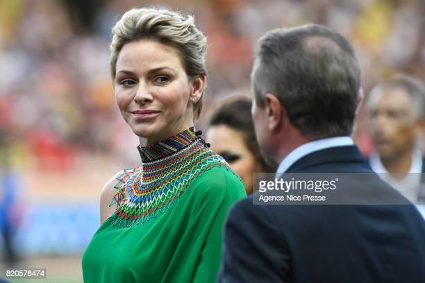 Princess Charlene and Serguei Bubka during the IAAF Diamond League Meeting Herculis on July 21 2017 in Monaco Monaco