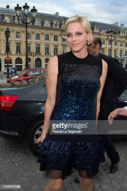 Princess Charlene attends the Louis Vuitton new boutique opening as part of Paris Haute-Couture Fashion Week Fall / Winter 2012/13 at Place Vendome...
