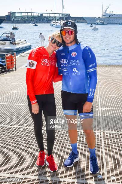 Princess Charlene of Monaco and brother Gareth Wittstock at the finish of The Crossing Calvi Monaco Water Bike Challenge on September 13, 2020 in...