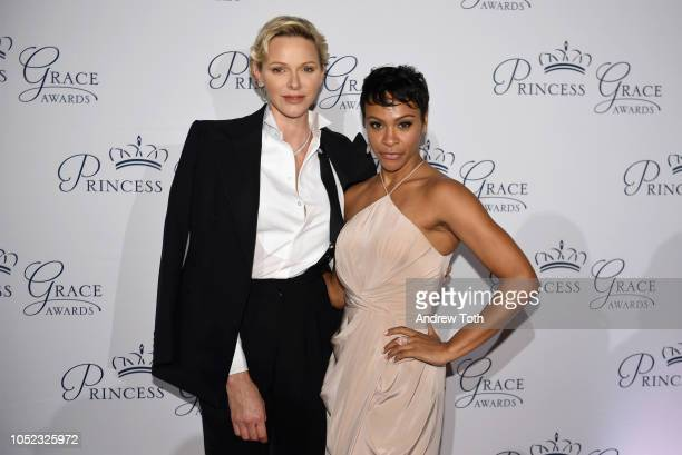 Princess Charlene of Monaco and Carly Hughes attend the 2018 Princess Grace Awards Gala at Cipriani 25 Broadway on October 16 2018 in New York City