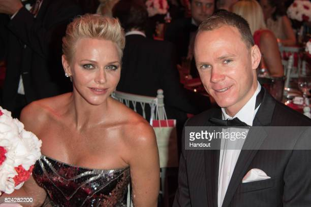 Princess Charlene of Monaco and Christopher Froome attend the 69th Monaco Red Cross Ball Gala at Sporting Monte-Carlo on July 28, 2017 in...